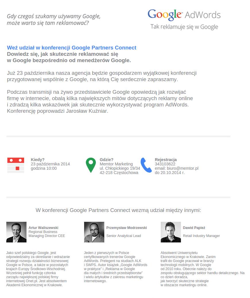 Google Adwords - Tak reklamuje się z Google - weź udział w konferencji Google Parnters Connect