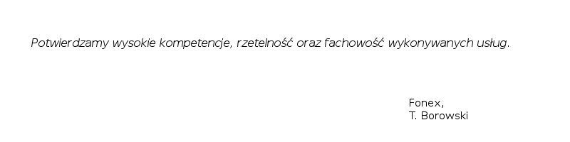 Referencje Fonex