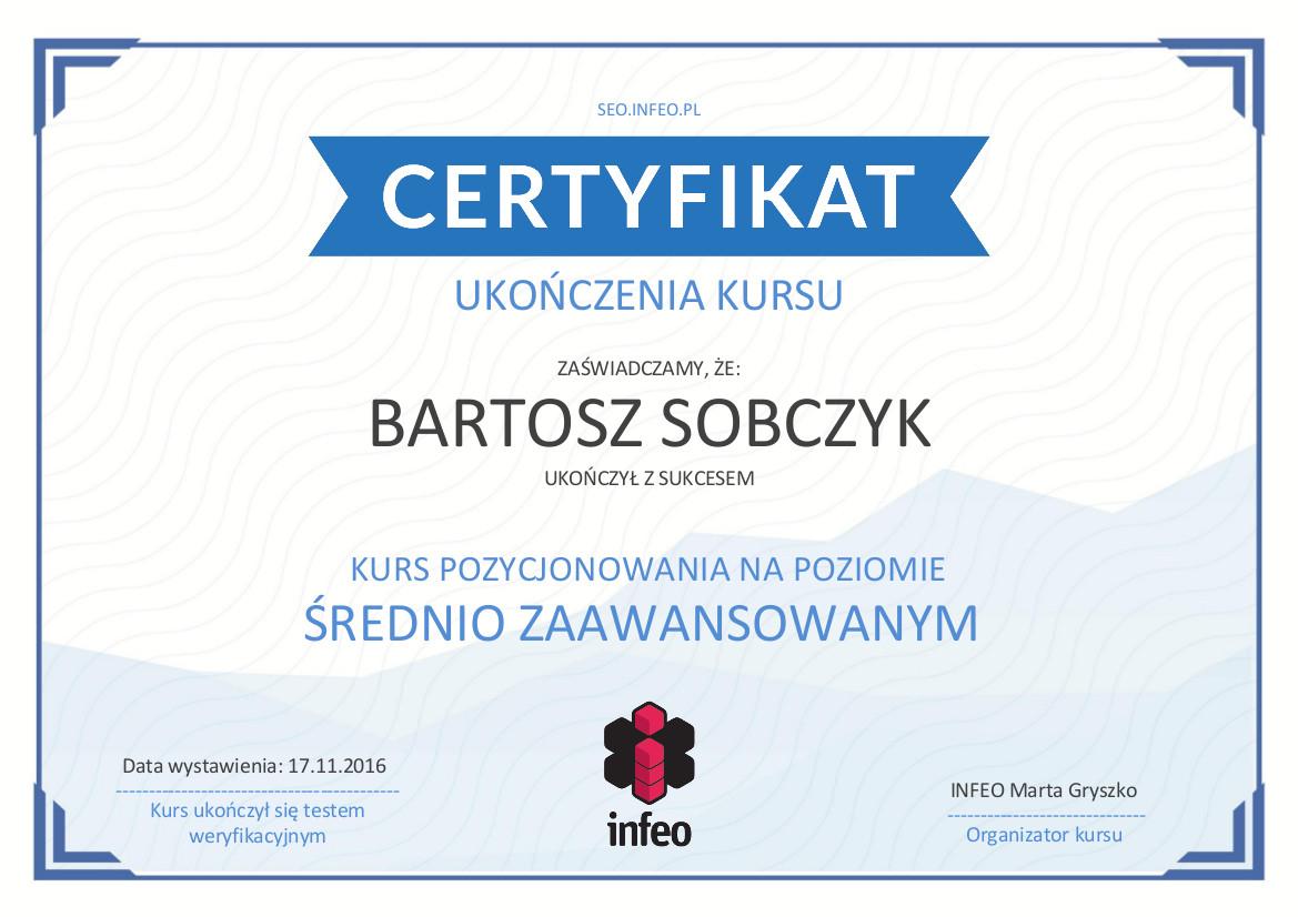 Certyfikat SEO - Bartosz Sobczyk