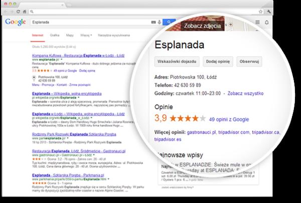 Wizytówka Google w wynikach wyszukiwania