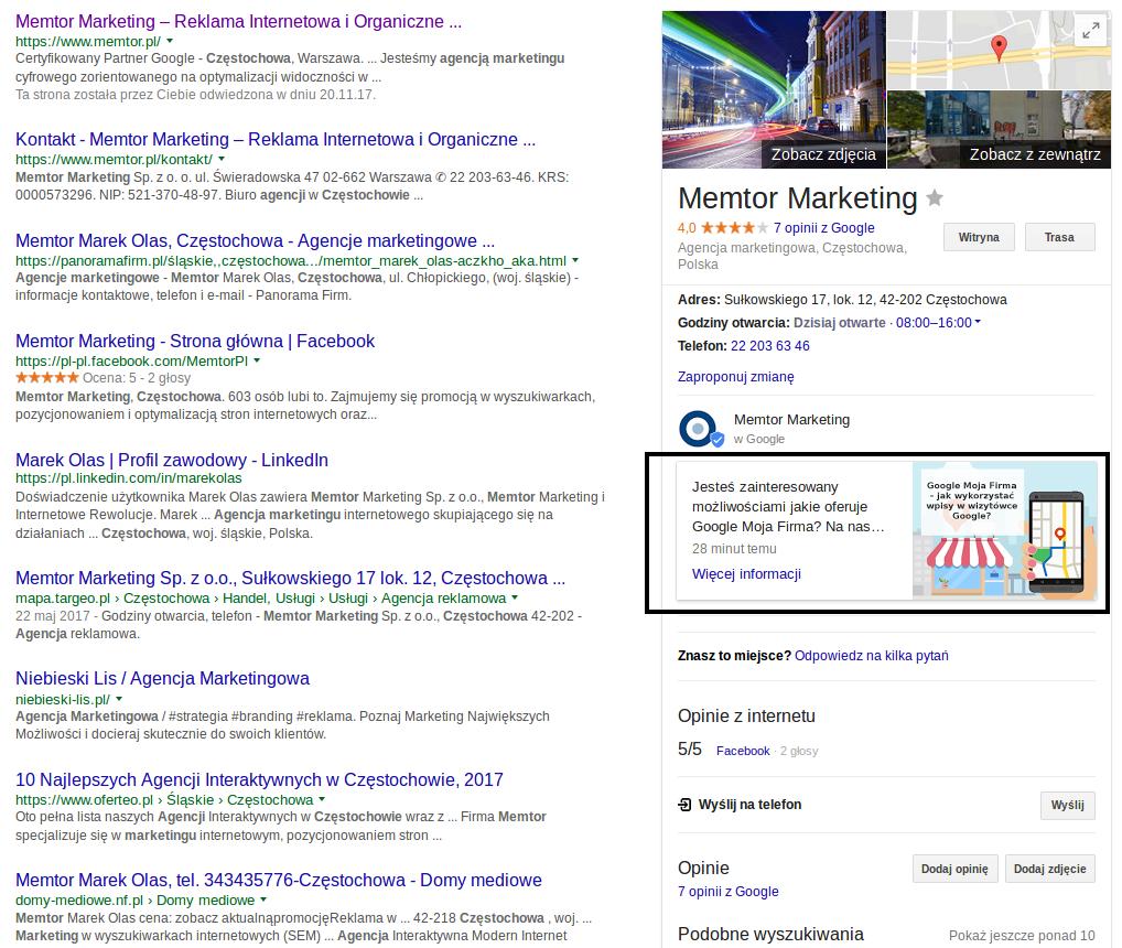 Przykład wpisu w wisytówce Google Moja Firma, jaki pojawia się w wyszukiwarce
