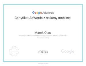 Certyfikat AdWords z reklamy mobilnej Marek Olas