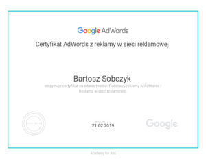 Certyfikat AdWords z reklamy w sieci reklamowej Bartosz Sobczyk