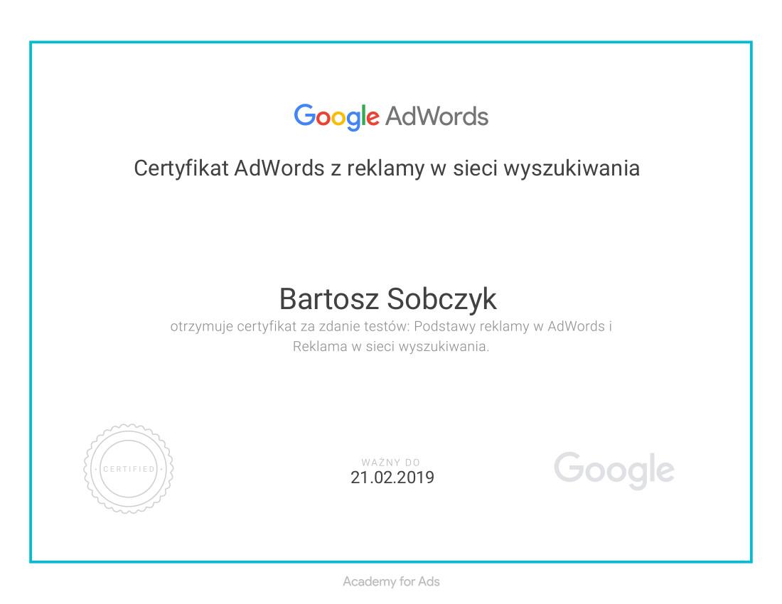 82f8426768dc86 Certyfikat AdWords z reklamy w sieci wyszukiwania Bartosz Sobczyk