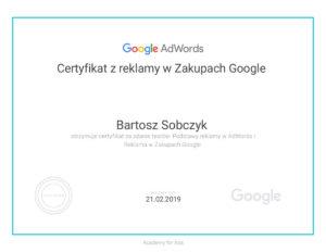 Certyfikat z reklamy w Zakupach Google Bartosz Sobczyk
