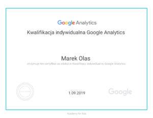 Kwalifikacja indywidualna Google Analytics Marek Olas