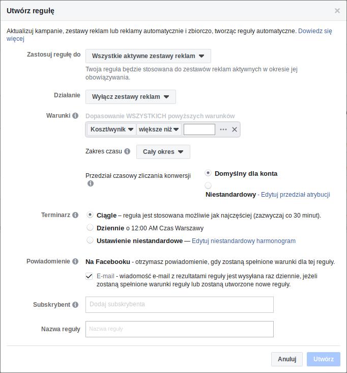 Tworzenie reguły - kampania reklamowa Facebook