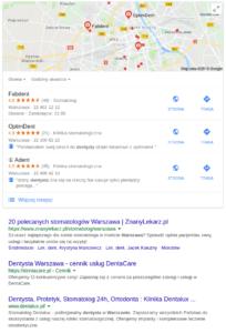 Wyszukiwarka Google - wyniki lokalne desktop