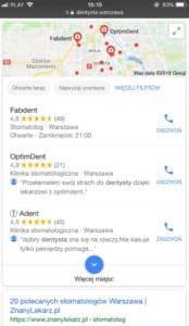 Wyszukiwarka Google - wyniki lokalne