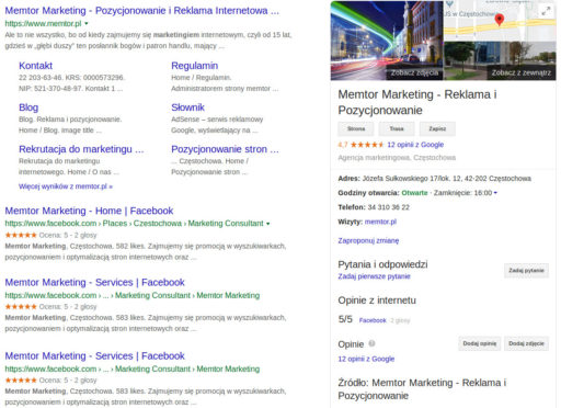 Wyszukiwarka Google - Memtor Marketing